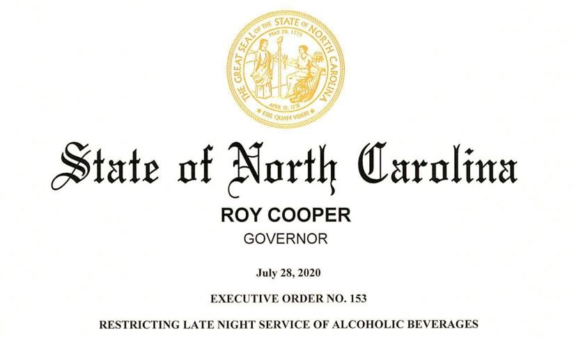 NC Governor Signs Executive Order No. 153 Limiting the Sale of Alcoholic Beverages After 11 pm